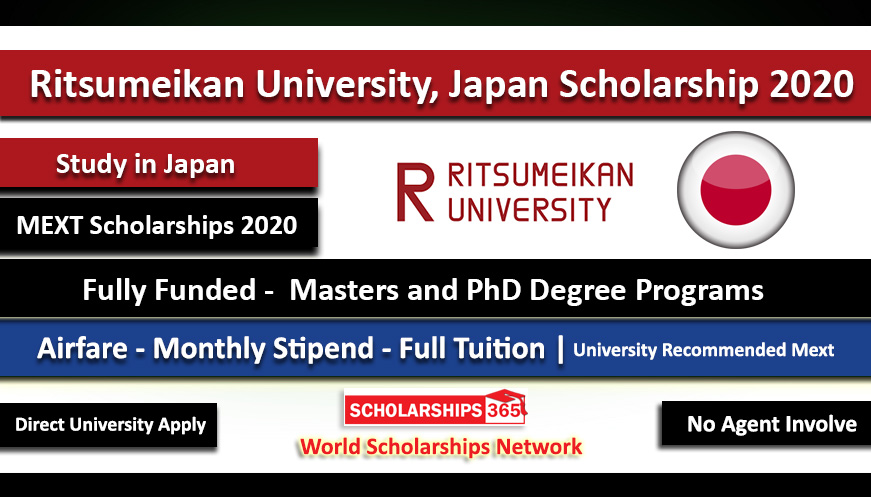 Ritsumeikan University Scholarship in Japan 2020 - Fully Funded - MEXT Japanese Government Scholarship
