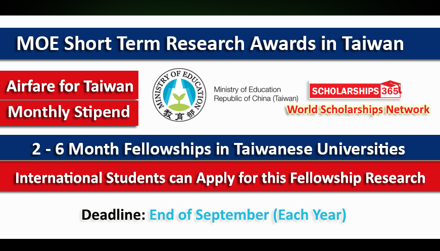 MOE Short Term Research Awards (STRA) in Taiwan - Fully Funded