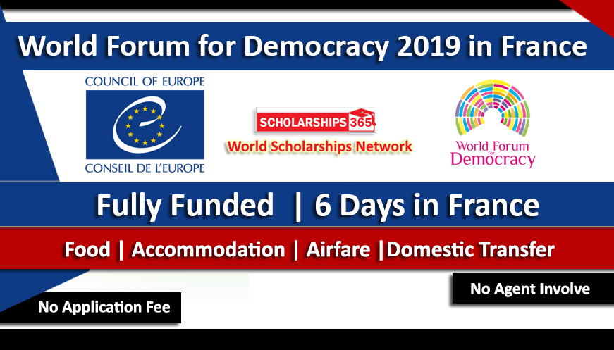 World Forum for Democracy 2019 Fully Funded in France - Youth Delegation 2019-2020