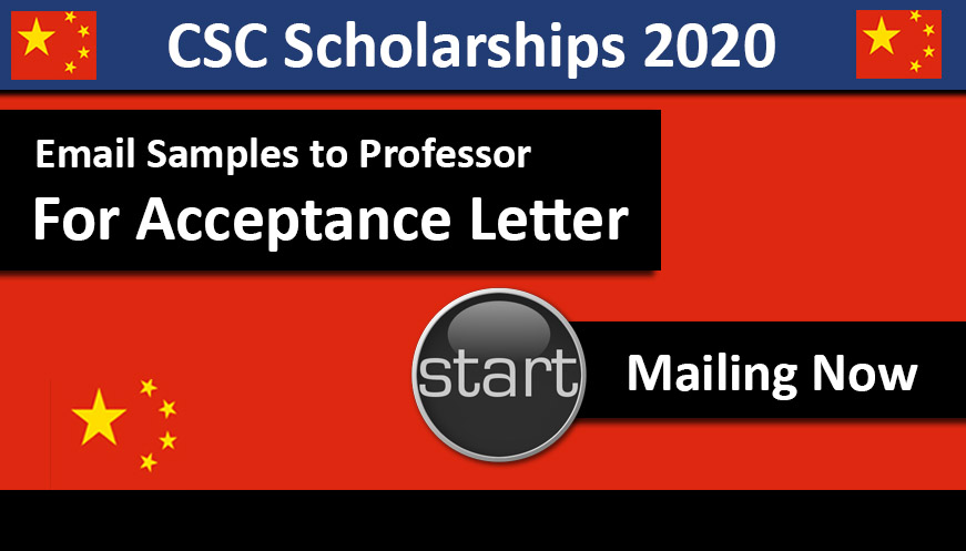 Email sample to Professor for Acceptance Letter for CSC Scholarships 2020