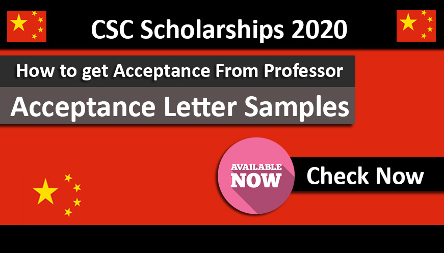 Acceptance Letter Samples for CSC Scholarships 2020 Under Chinese Government