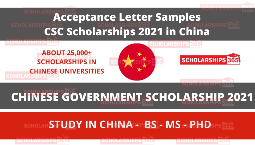 Acceptance Letter Samples for Chinese Government Scholarship 2021-2022