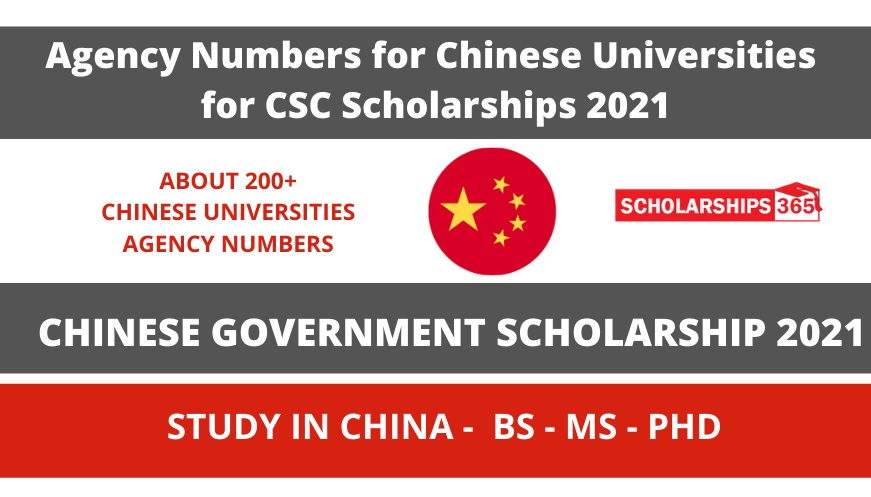 Agency Numbers for Chinese Universities for CSC Scholarships 2021