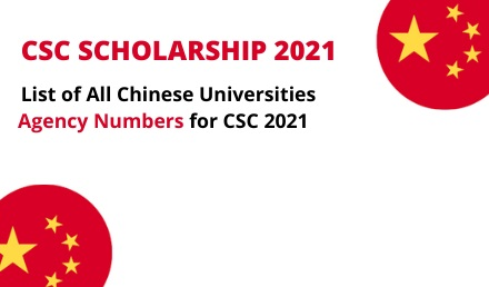 Agency Numbers for Chinese Universities for CSC Scholarships