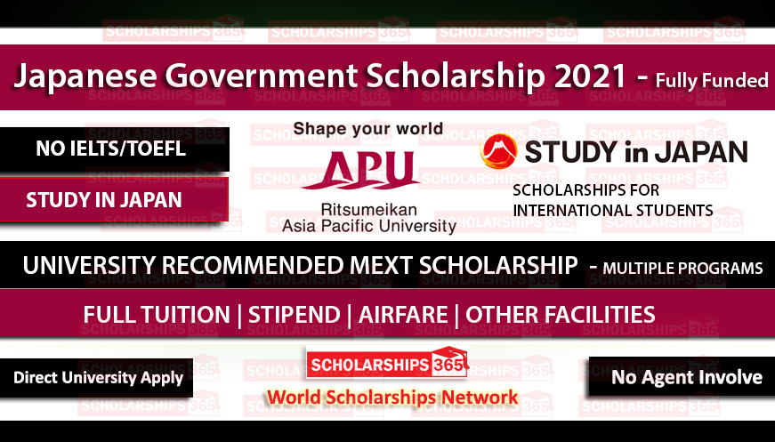Asia Pacific University Japan MEXT UR Scholarships 2021 - Fully Funded