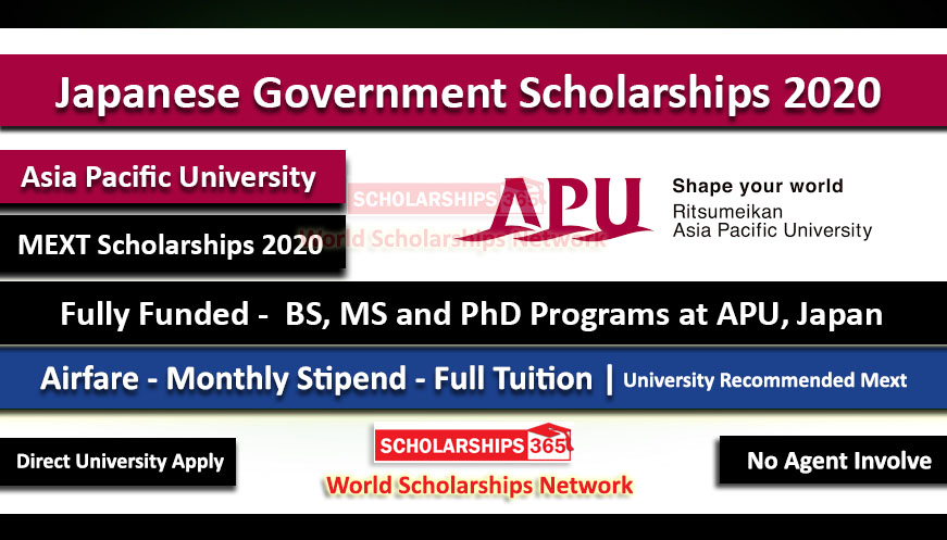 Japanese Government Scholarship 2020 MEXT Fully Funded - University Recommendation at Asia Pacific University