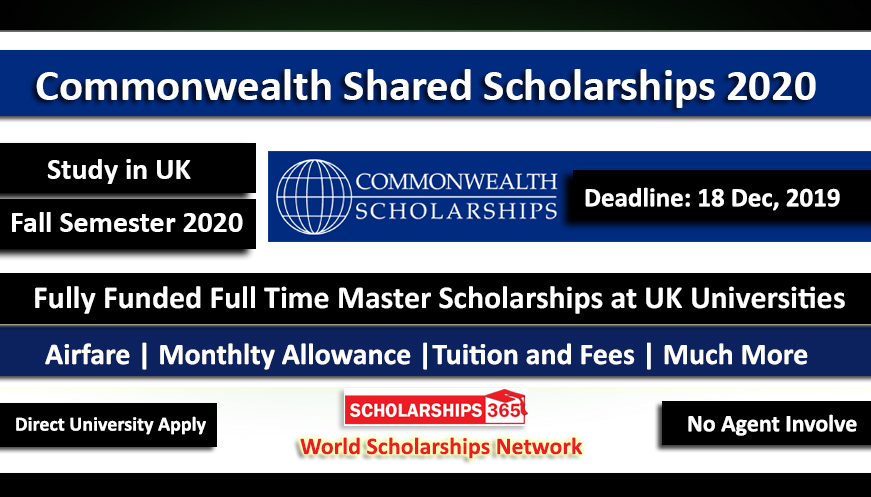 Commonwealth Shared Scholarships 2020 in UK Fully Funded for International Students