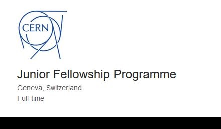 CERN Junior Fellowship Program 2021 Fully Funded Switzerland
