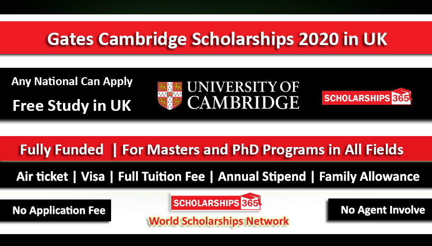 Gates Cambridge Scholarship in UK 2020 For Masters and PhD - Fully Funded