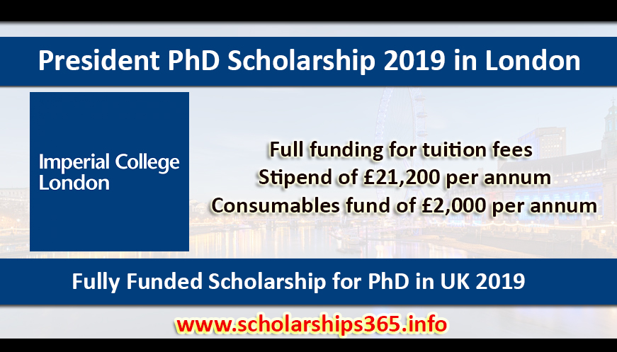 President PhD Scholarship 2019 at The Imperial College London