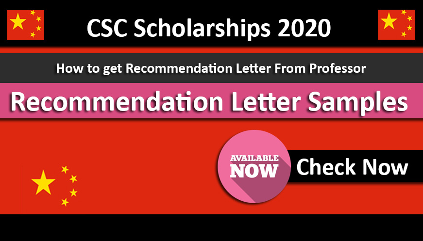 Recommendation Letters Template for CSC Scholarships 2020 Under Chinese Government