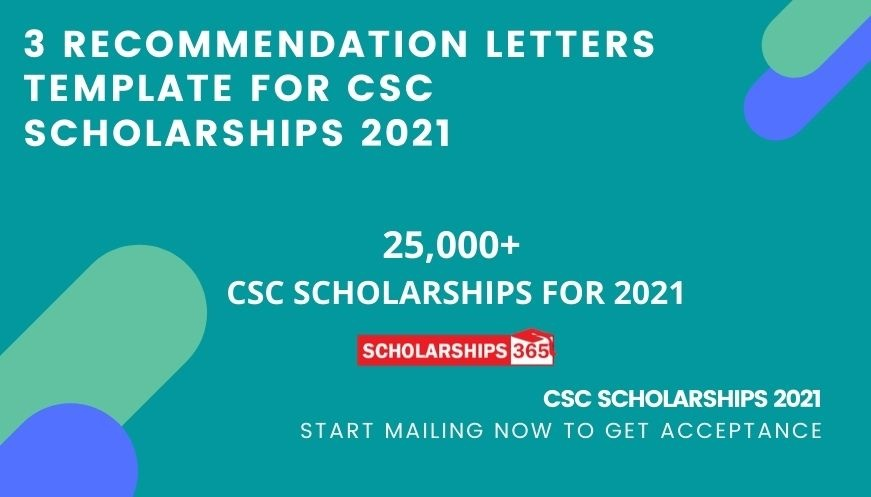 Recommendation Letters Template for CSC Scholarships 2021 - Chinese Government Scholarships