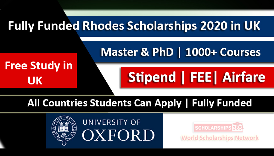 Rhodes Scholarships 2020-2021 in UK at Oxford University Fully Funded