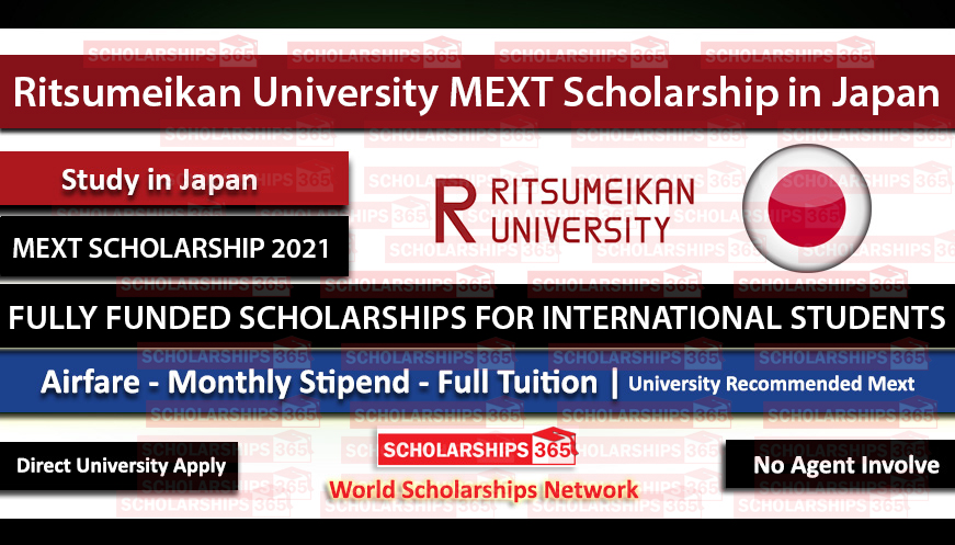 Ritsumeikan University MEXT Scholarship in Japan 2021 - Fully Funded