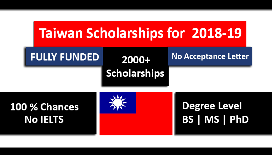 Taiwan Scholarships 2018-2019 for international students