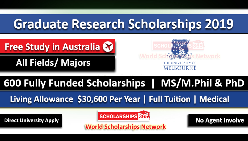 Graduate Research Scholarships 2019-2020 in Australia at University of Melbourne