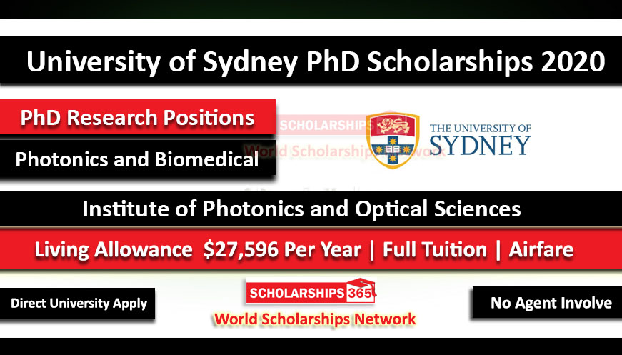 PhD Research Scholarships 2020 in Photonics and Biomedical at the University of Sydney