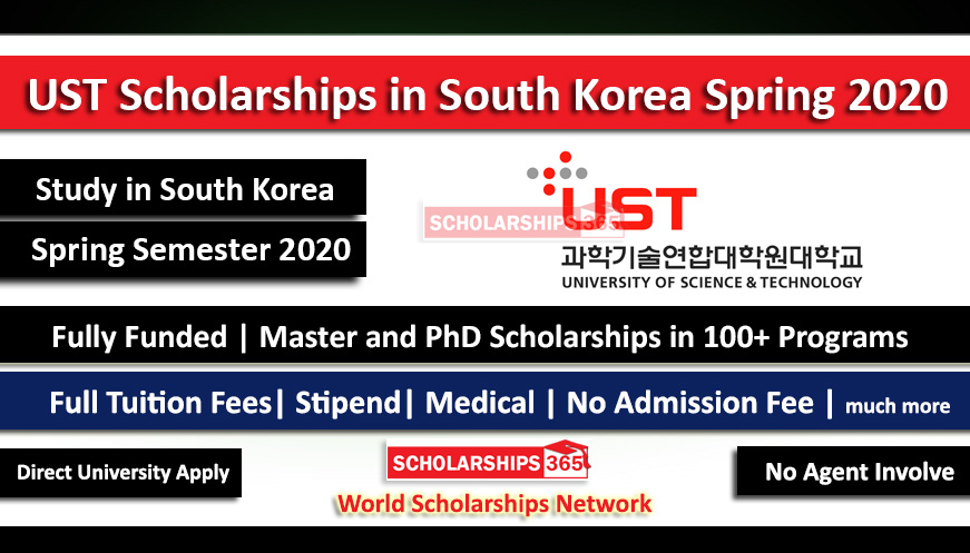 UST Scholarships in South Korea Spring 2020 For Masters & Doctorate